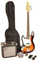 SX Ursa 2 PK RN 3TS LH Full Size Left Handed Sunburst Bass Guitar Package w/Amp, Carry Bag Video Instruction