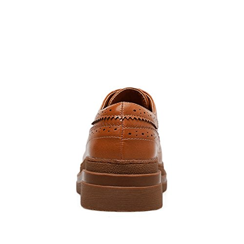 T-juli Kvinners Wingtip Oxfords Sko - Skjegg Perforerte Blonder-up Casual Sko Flat Brune
