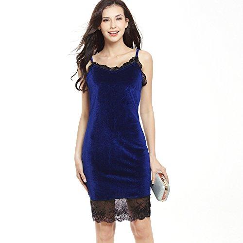 Cosido Encaje Bag ZHUDJ Hip Vestido De Falda Blue Royal nSFF5vx