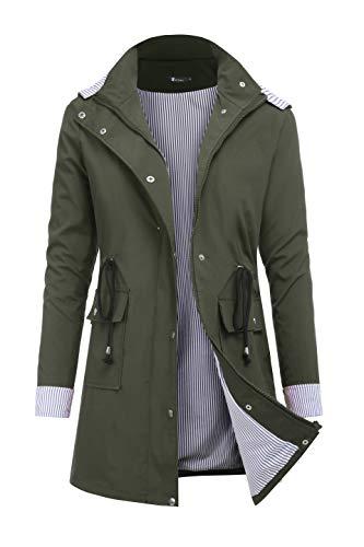 Green Raincoat - RAGEMALL Women's Raincoats Windbreaker Rain Jacket Waterproof Lightweight Outdoor Hooded Trench Coats Army Green XL