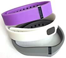Set 3 Colors Large L 1pc Grey 1pc Violet 1pc White Replacement Bands With Clasp for Fitbit FLEX Only /No tracker/ Wireless Activity Bracelet Sport Wristband Fit Bit Flex Bracelet Sport Arm Band Armband