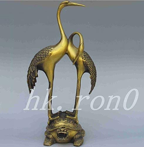 ZAMTAC Elaborate Chinese Classical Antique Brass Dragon Turtle Cranes Statue