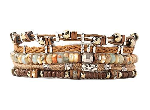 Chan Luu Aqua & Brown Mineral Stone Mix Multi Strand Silvertone Brown Leather Pull Tie Bracelet ()