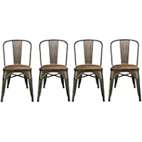 BTEXPERT Industrial Metal Antique Rustic Distressed Dining Side Chair (Set of 4 )