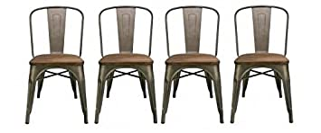 BTEXPERT Industrial Metal Antique Rustic Distressed Dining Side Chair Set of 4