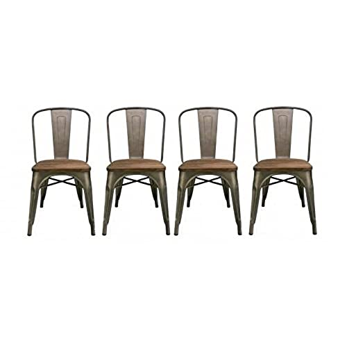 BTEXPERT Industrial Metal Vintage Tabouret Antique Copper Bronze Rustic  Distressed Dining Bistro Cafe Stackable Side Chair (Set Of 4 )