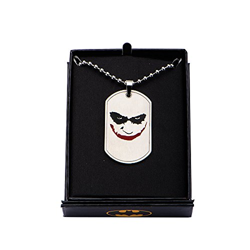 "DC+Comics Products : DC Comics Men's Joker ""Why So Serious"" 24"" Chain Dog Tag Necklace (Silver Tone)"