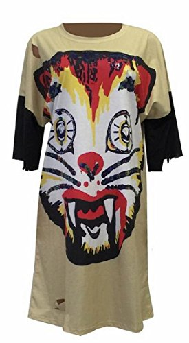 Khaki Party Loose Jaycargogo Women Print Dress Tiger s Halloween UaFgKyac