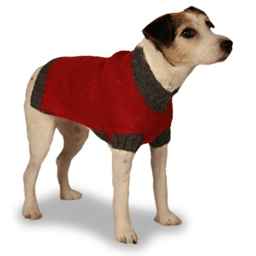 (Turtleneck Dog Sweater: Gray and Red Hand-knit Sweater made from 100% Soft Alpaca (Medium))