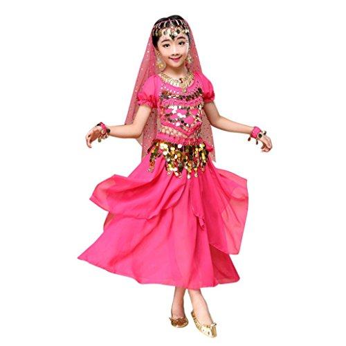 Malloom Kid Girls Belly Dance Short Sleeve Shirt Top, Dress Halloween Costume Set Outfits (XS, Hot Pink)