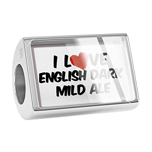 (NEONBLOND Charm I Love English Dark Mild Ale Beer 925 Sterling Silver Bead)