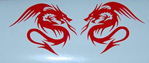 [Tribal Dragon Vinyl Decal Car Truck Auto Sticker Red New Set of 2] (Dragon Tribal Car)