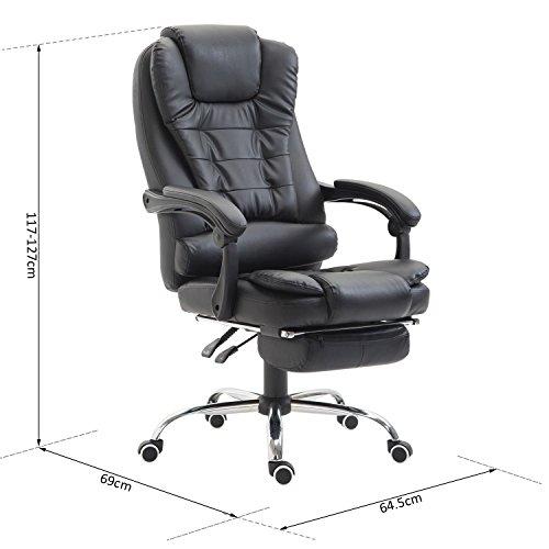 Homcom sedia da ufficio regolabile poltrona girevole con for Poltrona ufficio con poggiapiedi