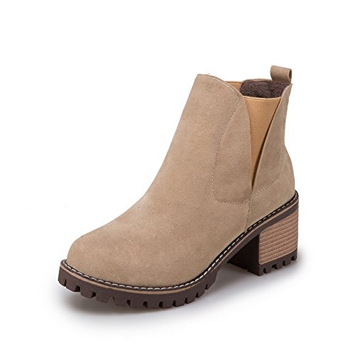 BalaMasa High Boots ABL10530 No Chunky Womens Heels Closure apricot Ankle Suede 1xBq1rA