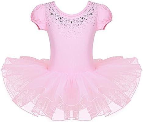 Kids Rhinestone Sparkle Dance Costumes Short Sleeve Tutu Ballet Dress for Little