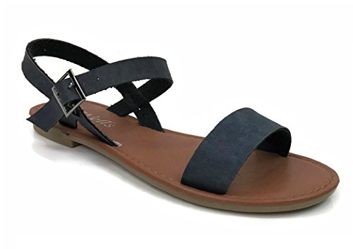 sic Strap Sandal Flat With Ankle Strap, Navy, 7 (Women Flat Sandals)