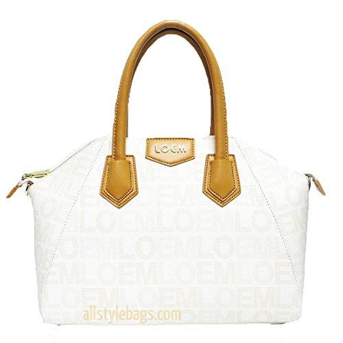 Designer Loem Signature Print Beige Ivy Shoulder Boxer Bag Handbag Golden Logo