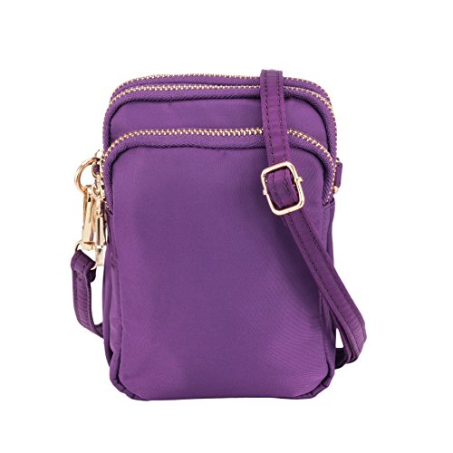 ZORFIN Nylon Small Crossbody Bags Waterproof Cell Phone Purse Wallet for (Small Bag Strap)