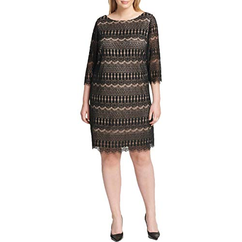 Jessica Howard Womens Plus Lace Elbow Sleeves Cocktail Dress Black 20W