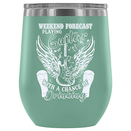 Steel Stemless Wine Glass Tumbler, Guitar Player Vacuum Insulated Wine Tumbler, Playing Guittar Wine Tumbler (Wine Tumbler 12Oz Teal) ()