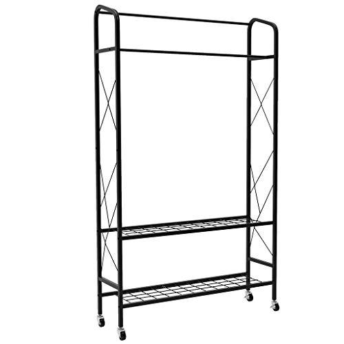 LANGRIA Free-Standing Double Rail Garment Rack with Wheels Made of Sturdy Iron with Spacious Storage Space, 2 Heavy Duty Shelves, Commercial Clothes Organizer for Bedroom, Entryway, Stores (Black)