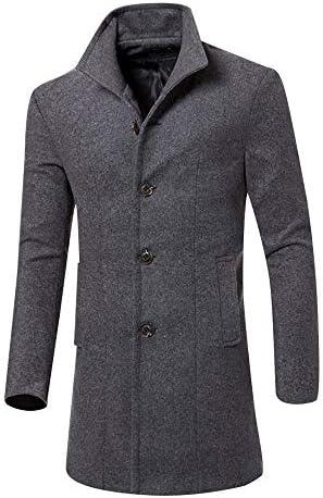 mechanC メンズ コート ウール ジャケット 厚手 中綿入り 暖かい 無地 ロング丈 通勤 紳士服 シャツ オシャレカーデ