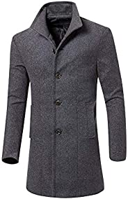 FANSHONN Men's Winter Warm Wool Trench Coat Long Jacket Business Down Jacket Slim Fit Button Over