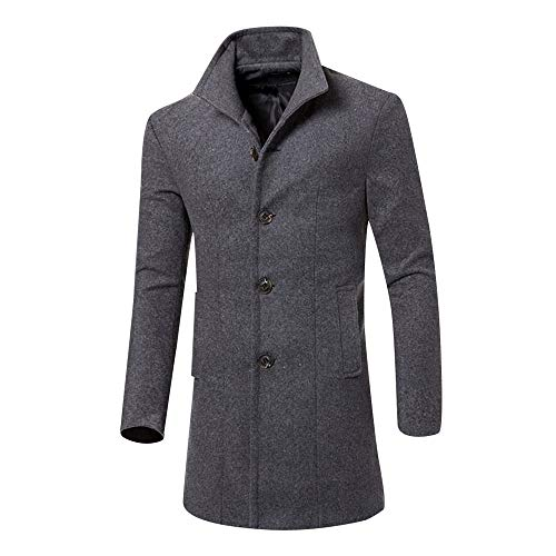 Realdo Mens Windbreaker Clearance Sale, Men Thick Business Casual Warm Lapel Long Trench Coat(X-Large,Grey)