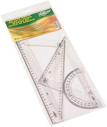 Faibo 806 - Estuche con regla, escuadra, cartabón y semicírculo, 30 cm: Amazon.es: Oficina y papelería