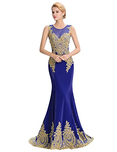 mujer Long Belle Prom azul mangas para Vestido Dress ajustado Sin 8WC147a