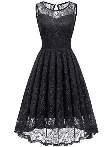 Dresses Black Homecoming - Gardenwed Women's Vintage Lace High Low Bridesmaid Dress Sleeveless Cocktail Party Swing Dress Black M