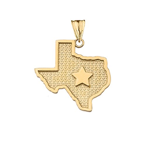 (Fine 14k Yellow Gold State Map of Texas and Lone Star Silhouette Charm Pendant)
