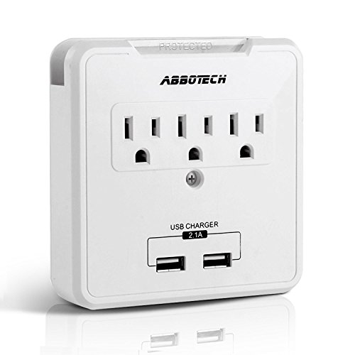 Multi Outlets Wall Mount Adapter Surge Protector Charging Station Wall Tap With 3 Electrical Outlet Extenders And 2USB Charging Ports ,AbboTech,White ,ETL Certified Multifunction Wall Station