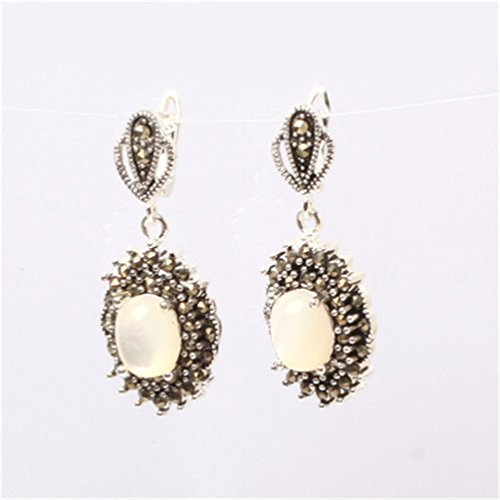 Marcasite White Ring - GEM-inside 15x20mm Oval White Shell Beads Tibetan Silver Marcasite Earrings Jewelry