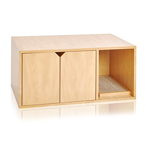 Way Basics Eco Friendly Modern Cat Litter Box Furniture Enclosure, Natural Wood Grain (Tool-Free Assembly and Uniquely Crafted from Sustainable Non Toxic zBoard paperboard)