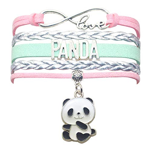 HCChanshi Panda Bracelet Jewelry Bear Cute Infinity Love Panda Charm Bracelet Gifts for Girls, Women, Men, Boys (Pink,Silver and Mint Green)