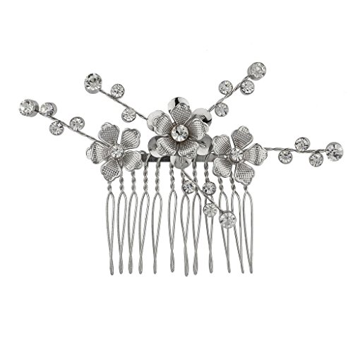 Hair Metal Costume Ideas (Lux Accessories Silvertone Casted Flower Bride and Crystal Stems Metal Hair comb)