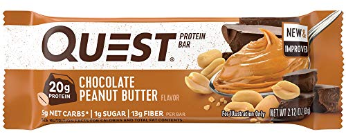 Quest Nutrition Chocolate Peanut Butter Protein Bar, High Protein, Low Carb, Gluten Free, Soy Free, Keto Friendly, 12 Count - Fiber Chews Chocolate