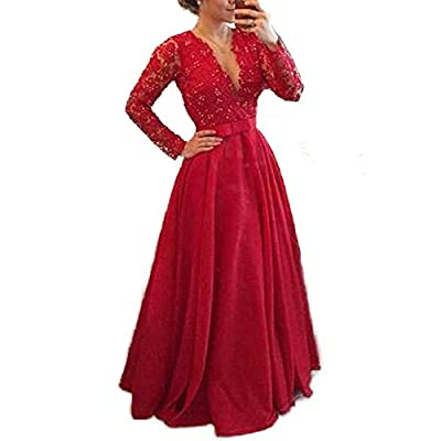 Meilishuo Women's Deep V-neck Beaded Prom Dress Lace Evening Formal Dress with Long Sleeves