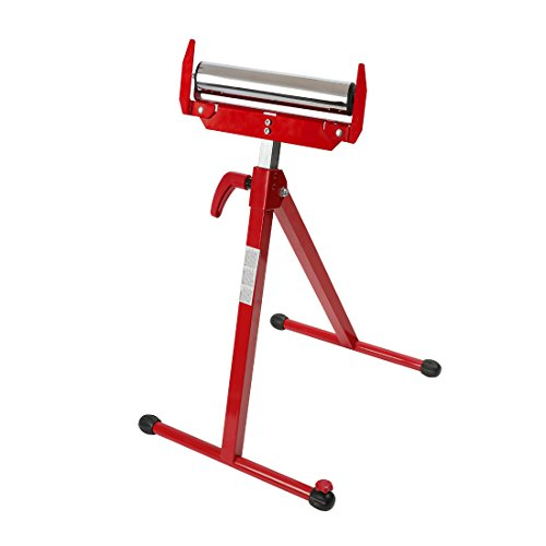 WORKPRO Folding Roller Stand Height Adjustable, Pedestal with Ball Bearing Roller, Works with Table Saws, Miter Saws, Planers and Jointers for Log, Timber, Firewood and Metal Material, 250 lbs