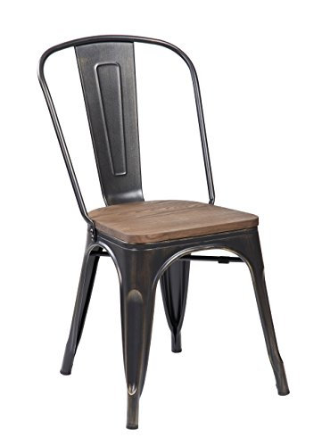 eurosportsTolix Style Metal Dinning Chairs Stackable Home Kitchen Barstools with Handmade Wooden Seat and Back, Set of 4 Antique Black Brushing