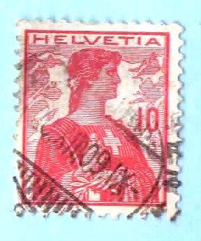 Used Switzerland Postage Stamp (1909) 10c Helvetia -Scott # 164 ()