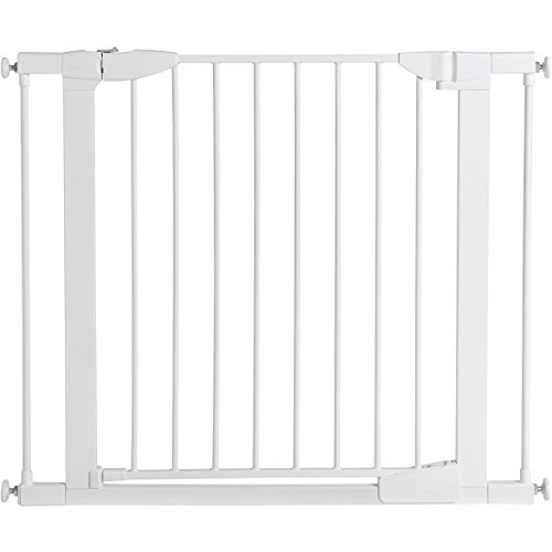 Munchkin Auto Close Pressure Mount Baby Gate for Stairs, Hallways and Doors, Metal, White, Model MK0006-022