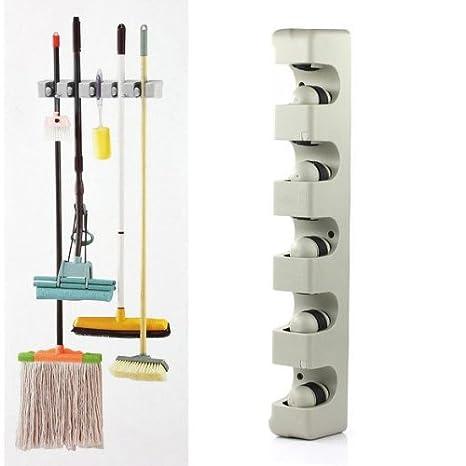 TOOGOO(R) Montada 5 Coloque la cocina para guardar la fregona escoba Organizador MOP y TITULAR DE LA ESCOBA Muro