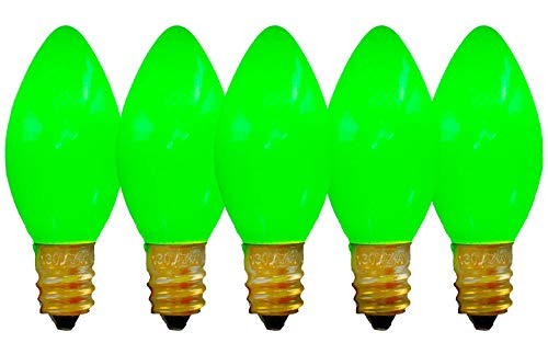 C-9 Green Ceramic Steady Bulbs St. Patrick's Day Lights Brand New 1 Box of 25 Solid Green C9 Ceramic Steady Bulbs 25 Replacement Lighting Christmas Holiday Seasonal St. Paddy's Day -