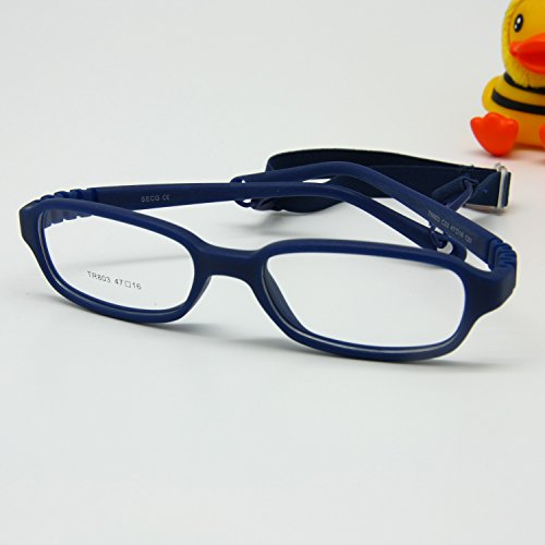 EnzoDate Kids Optical Glasses Frame Size 47-16-120 with Cord No Screw Bendable (navy)