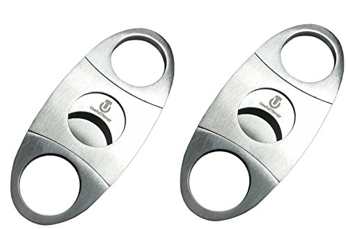 Cigar Cutter 2 Pack - Premium Stainless Steel - Guillotine Double Blade