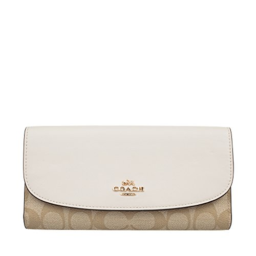 Coach women's PVC Long Wallet F57319 (khaki white) by Coach