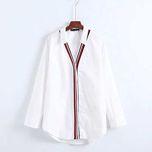 L Heeecgoods Camicie Righe Tops V Bianca Lunghe Con Casual Colorate E Donna Da Maniche Camicette A Dimensione Bianca Scollo colore Ur6qURA