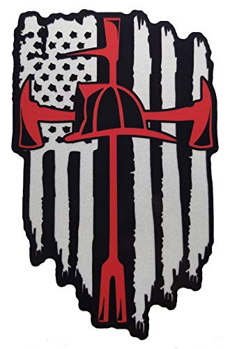 - 3M Reflective American Flag Thin Red line Firefighter Halligan Axe Cross Fire Department Vinyl die Cut Sticker Decal (15